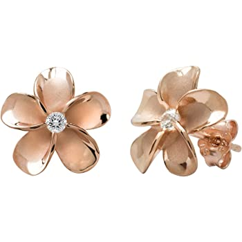 14K Rose Gold Plated Stering Silver Cz Plumeria Stud, No Color, Size No Size