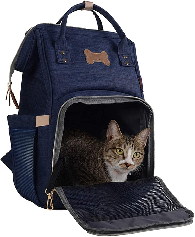 BLRYP Pet Backpack Pet Backpack Travel Carrier for Dogs Cats Rabbits, Bag Outdoor Airline Approved Portable Bag Breathable Mesh Handbag Walking,Travel,Hiking,Camping (color   bluee)