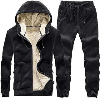 HEFASDM Men Fleece 2-Piece Thicken Plus-size Warm Hoodie & Pants Set