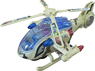 Electric Army Helicopter Toy for Kids Bump and Go Action Military Plane with Flashing Lights and Musical Sound Battery Operated