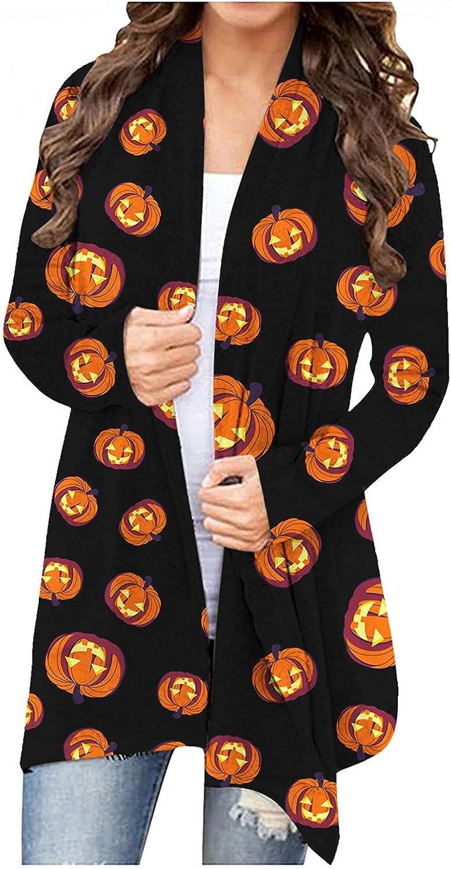 Masbird Womens Halloween Costumes, Womens Cute Pumpkin Ghost Graphic Open Front Tops Long Sleeve Cardigan Lightweight