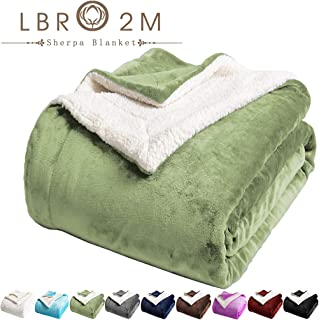 LBRO2M Sherpa Fleece Bed Blanket King Size Super Soft Fuzzy Plush Warm Cozy Fluffy Microfiber Couch Throw Velvet Double Reversible Luxurious Blankets (Sage Green, King(90x104 Inches))