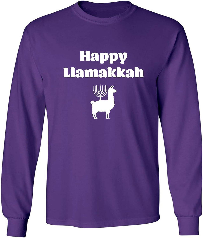 Happy Llamakkah Adult Long Sleeve T-Shirt in Purple - XXX-Large