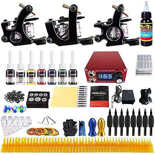 Solong Tattoo kits Complete Tattoo Kit 3 Pro Professional Machine Guns 8 Inks Power Supply Foot Pedal Needles Grips Tips TK352