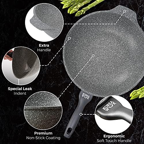 Sarten Wok Antiadherente de Aluminio Fundido, Wok Sartenes Antiadherentes 32 cm Ø | Wok Vitrocerámica o Sarten Wok Induccion Tipo Cazuela | Wok Profesional Incluso para Cocina de Granito, Piedra