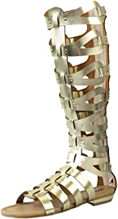 CAMSSOO Women's Fashion Knee High Gladiator Flat Outdoor Sandals Back Zip Shoes
