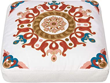Large Embroidery Floor Pillow Cushion - Bohemian Floor Seating for Adults Kids, Futon Tatami Mat Square Balcony Pillows Seati