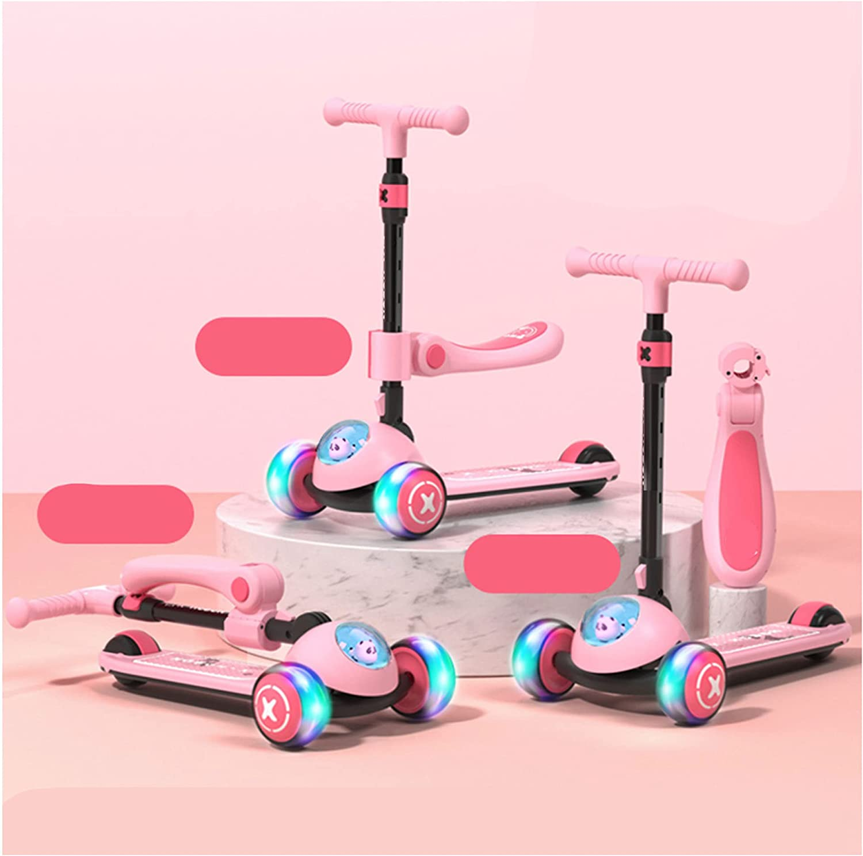 Con luces LED de PU de tres ruedas, adecuado para niños y niñas, scooter plegable para niños, adecuado para 2 años en adelante, altura ajustable 62-80 cm, plegable, con capacidad de carga 80 KG