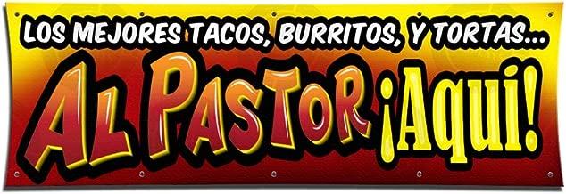Los MEJORES Tacos AL Pastor Banner Sign Open Restaurant Mexican Food BBQ Fiestas (3' x 9')