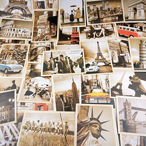 32 Cartes Postale,Cartes Postales Rétro,Affiches de Films Européens et Américains, Cartes Postales Architecturales(14 x 10 cm)