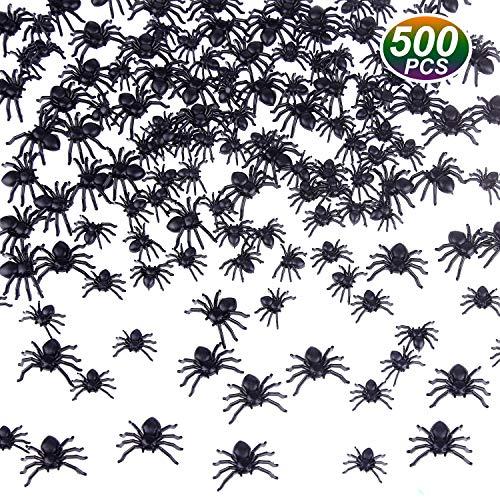 TUPARKA 500 Pezzi Mini Ragni realistici in plastica Spider Falso Halloween Party Prank Puntelli Dimensioni Miste