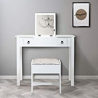 thegreatshopman White Makeup Table Vanity Flip Top Table Dressing Table Stool Set w/ 2 Drawer and Mirror