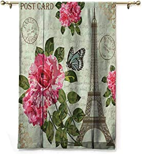 Paris Blackout Tie-Up Valance Curtain Shabby Chic Romantic Roses Flowers Leaves with Eiffel Tower and Abstract Lettering Privacy Protection Multicolor W31 x L64 Inch