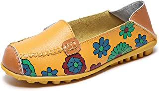 Qlv House Womens Slip-on Flats Casual Shoes Moccasin Shoes - Floral Print Leather Driving Loafers