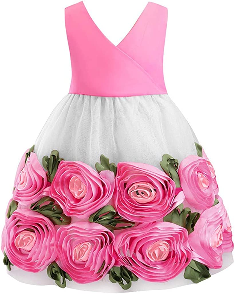 aihihe Toddler Girls 67% OFF of fixed price Flower Dress Party Lace Pagean Kids Deluxe Wedding