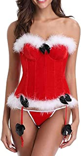 Corset Solid Red Overbust Cup White Fluff Fish Boned Corsets Miss Santa Bustier Sexy Xmas Corsets Halloween Korset Hot