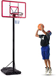 Giantex Portable Basketball Hoop, Height Adjustable 7.5 FT - 10 FT, In-Ground Base with Wheels, 44 Inch Shatterproof Backboard, Basketball Hoop System Stand Outdoor Indoor