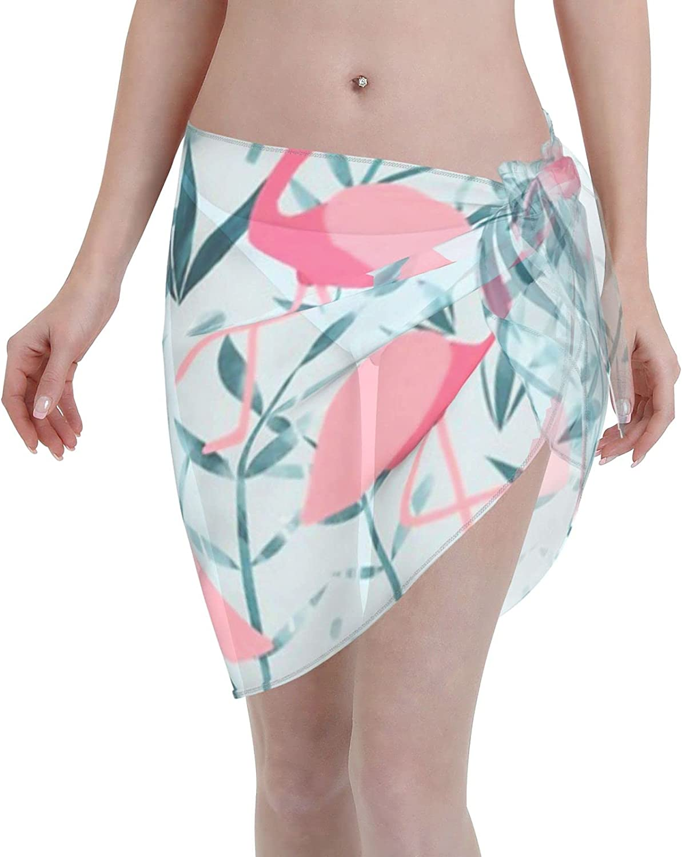 Flamingo Fever Women Chiffon Beach Cover ups Beach Swimsuit Wrap Skirt wrap Bathing Suits for Women