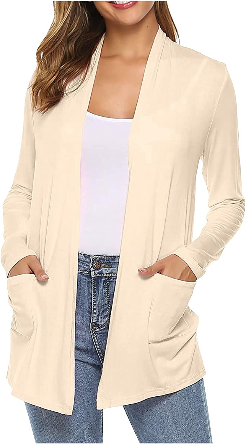 Knitted Pocket Cardigan Women's Fasion Casual Loose Solid Color Long-sleeved Top