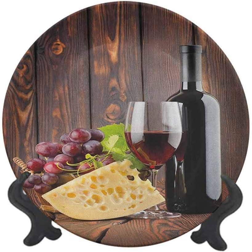 Plato decorativo de cerámica de 20,32 cm, botella de vino tinto y cristal de queso y uvas sobre tablones de madera, placa de pared decorativa de cerámica para decoración de recepción de boda