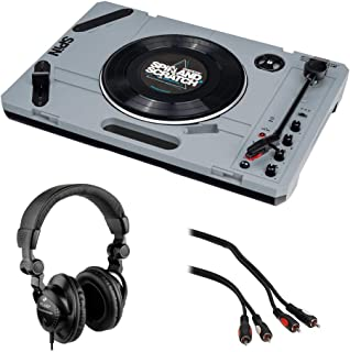 $259 » Reloop Spin Portable Turntable System with Scratch Vinyl with Polsen HPC-A30 Studio Headphones & Male Audio Cable (6') Bundle