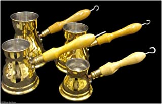 Set 4 Brass Turkish Coffee Maker Coffee Pot Ibrik Egypt 100% Brass 429
