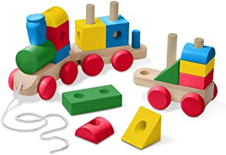 Melissa & Doug Wooden Jumbo Stacking Train – 4-Color Classic Wooden Toddler Toy (17Piece)