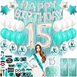 15th Birthday Decorations for Girls | Teal Green Turquoise | Quinceanera Decorations| Cake Topper Balloons Banner Photo Props Sash| 15 Birthday Decorations for Girls Gifts for 15 year Old Girl Gifts for Birthday Quinceanera