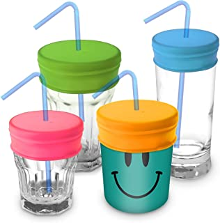 iGadgitz Home U6543 Reusable  Food Grade Non BPA Soft Silicone Spill-Proof Travel Straw Lids Suitable for Most Drinking Cups and Glasses - Pink, Yellow, Green, and Blue - Pack of 4