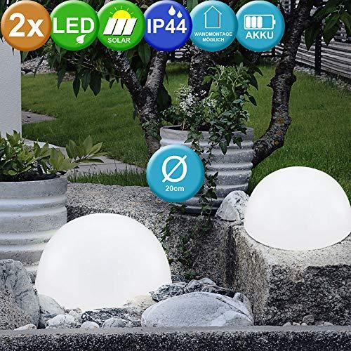 2er Set LED Solar Garten Leuchte Außenbeleuchtung weiß Halbkugel IP44 Solarlampe