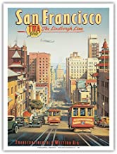 San Francisco - The Lindbergh Line - TWA (Transcontinental & Western Air) - California Street Cable Cars - Vintage Style Airline Travel Poster by Kerne Erickson - Master Art Print - 9in x 12in