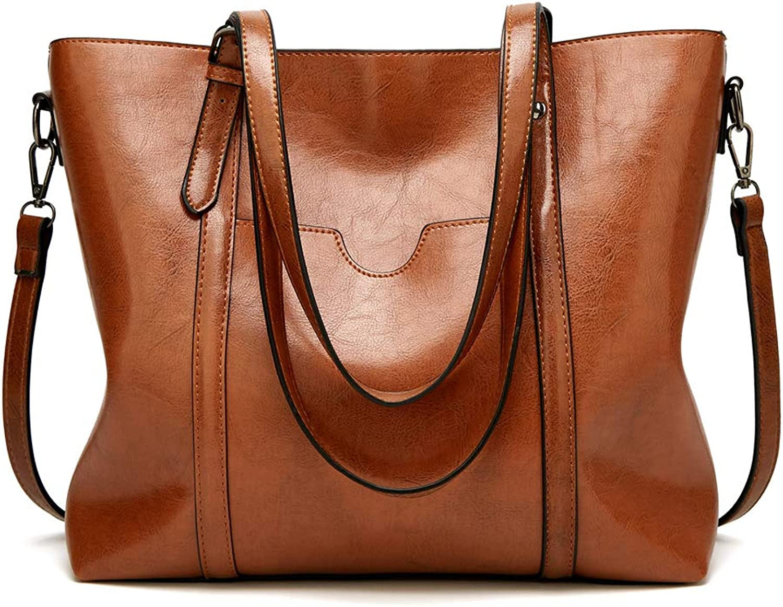 Women's Soft Leather Handbag Big Capacity Tote Shoulder Crossbody Bag Upgraded Women Bag Top Handle