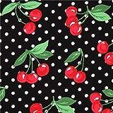 schwarzer Kirschen Polka Dot Stoff Cherry Dot von Michael