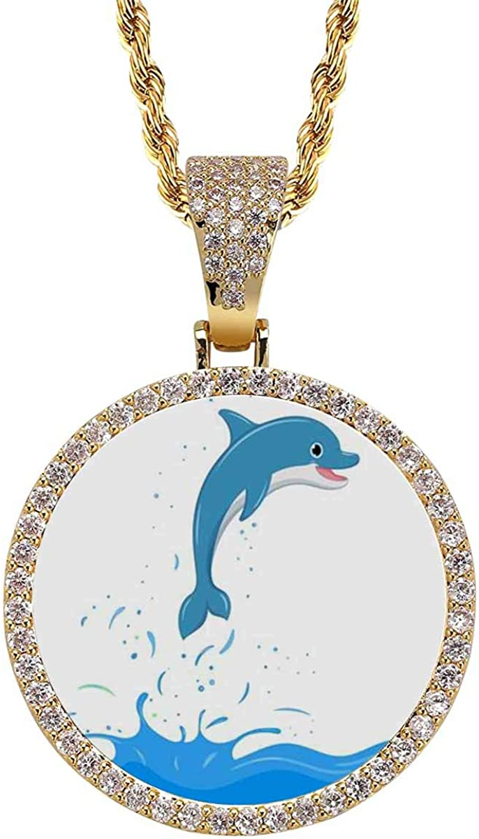 INTERESTPRINT Cartoon Dinosaurs on Necklace for Award-winning store White Special Campaign Pendant