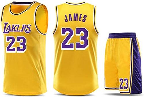 Maillot de Basketball pour Hommes Los Angeles Lakers   23 Lebron James Blanc Noir Jaune - Débardeur Championship Limited Edition et courte ajustés à col élastique