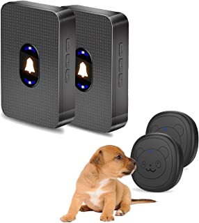 LISSION Dog Doorbell Wireless Dog Doorbells for Potty Training Doggie Doorbell IP55 Water-Resistant 5 Level Volume 2 Touch Button Transmitter and 2 Plugin Receivers Black