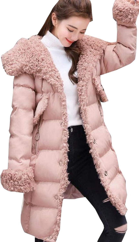 Desolateness Women Lambswool Down Linling Winter Puffer LongSleeve Jacket
