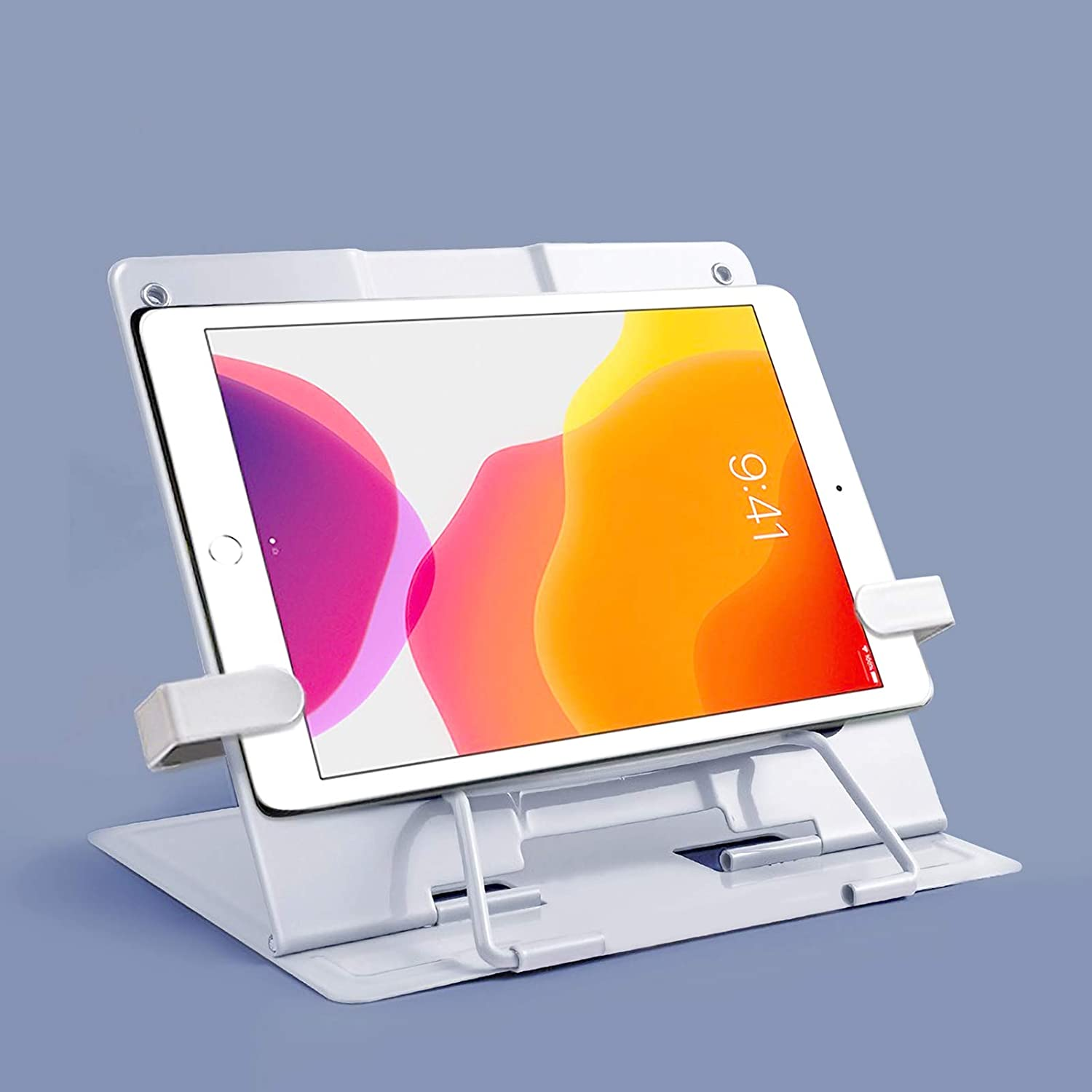 GeLive Upgrade Metal Book Holder Page Clip Eye Protection Reading Stand Adjustable Recipe Stand Foldable Cookbook Rest Reading Hands Free Tablet iPad Calendar Catalog Recipe Holder White