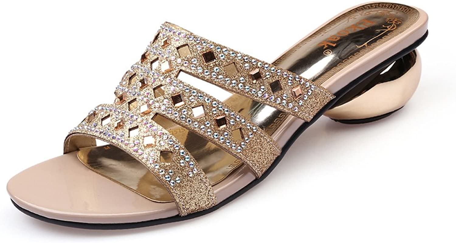 Genepeg Womens Sandals Party Wedding shoes Sexy Crystal Open Toe Med High Heels shoes Apricot