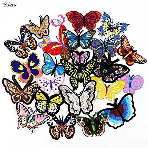 TDCQ Gestickte Schmetterlingsaufnäher Aufbügeln Aufkleber Aufkleber für Kleidung Jacke Jeans Taschen DIY Nähzubehör 25 STK