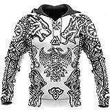 Keltischer Wolf Und Drachenkopf 3D Gedruckter Nordic Viking Hoodie, Personalisierte Streetwear Für Herren Der Herbstmode, Norse God Pagan of Pullover,Hoodies,L