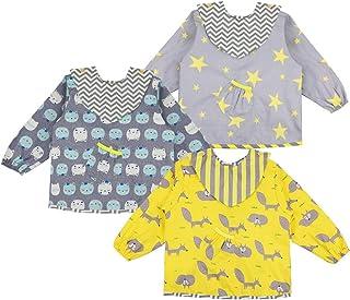 Lictin 3 Pcs Baberos Bebés con Mangas Impermeable- Baberos
