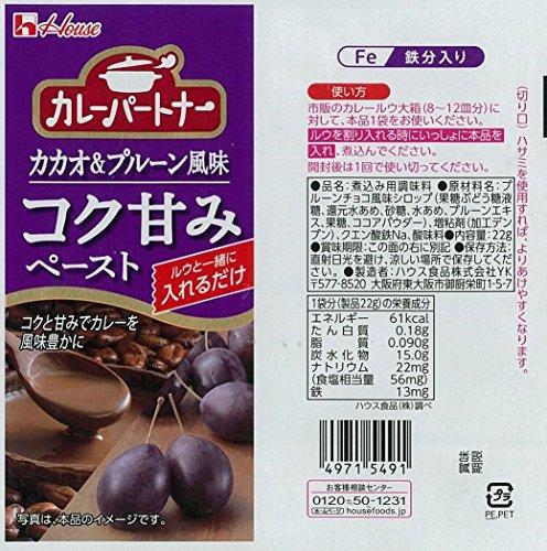ハウス カレーパートナー コク甘みペースト カカオ&プルーン風味 22g