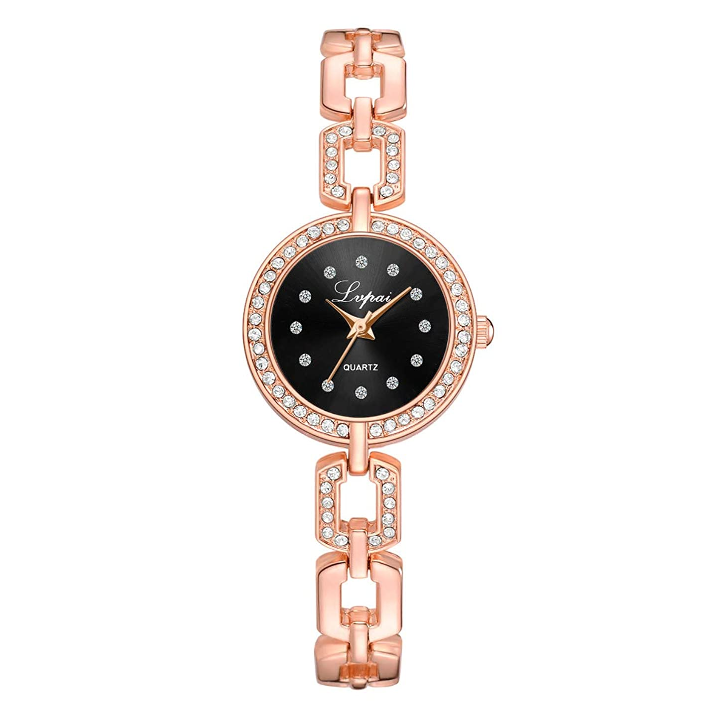 LUCAMORE Women's Quartz Wrist Watch with Simple Dial Style and Crystal Stainless Steel Bracelet Watches