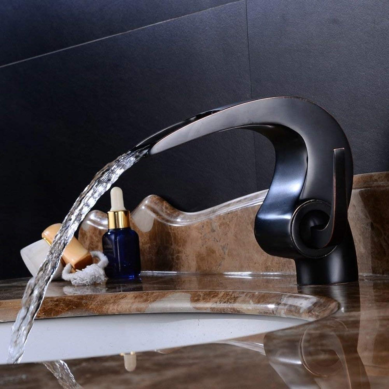 SCJ Schwarz Vintage Becken Wasserhahn Europischen Antik Kupfer Einlochmontage Waschbecken Sprühhahn Bad Heien Und Kalten Wasserfall Messing Mischbatterie