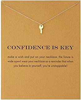 a071af770 QXFQJT Sun Y Necklace Friendship Anchor Unicorn Elephant Flower Pendant  Chain Necklace with Meaning Card