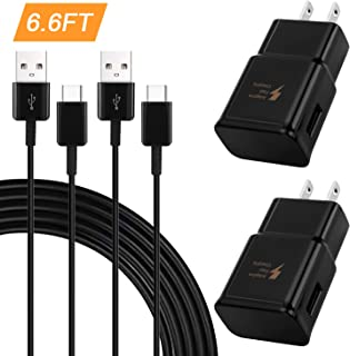 USB Type C Cable Fast Charging Wall Charger Adapter Kit Compatible Samsung Galaxy S8 / S8 Plus/S9 / S9+/Active/Note 9 / Note 8/S10 /S10e & Other Smartphones(2 Pack)