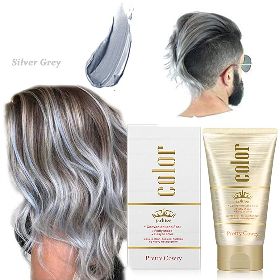染めヘアワックス、ワンタイムカラースタイリング、スタイリングカラーヘアワックス、ユニセックス9色、diyヘアカラーヘアパーティー、ロールプレイング (Sliver grey)