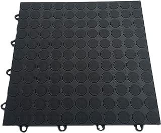 HYSA MAT Coin Garage Flooring Tiles 4 Lock Interlocking Modular for Showroom Basement Gym Surface Protecting 12 x 12 inch, 12 Pack - Black