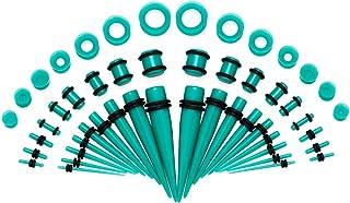 SENNI 50Pcs Ear Stretching Kit 14G-00G Gauge Stretching Kit Acrylic Taper Kit Gauges for Ears for Women Men